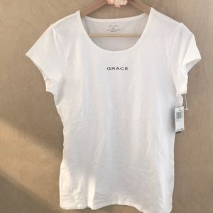 NWT Grace white shirt sleeve tee